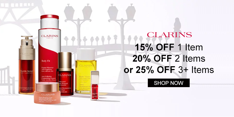 Clarins: 15% OFF 1 Item, 20% OFF 2 Items, or 25% OFF 3+ Items