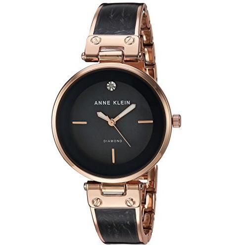 Anne Klein Women's AK/2512GYRG Diamond-Accented Rose Gold-Tone and Grey Marbleized Bangle Watch
