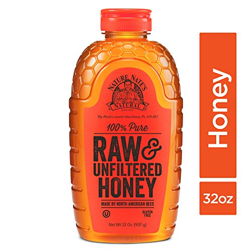 Nature Nate's 100% Pure Raw & Unfiltered Honey; 32-oz. Squeeze Bottle; Certified Gluten Free and OU Kosher Certified; Enjoy Honey's Balanced Flavors,