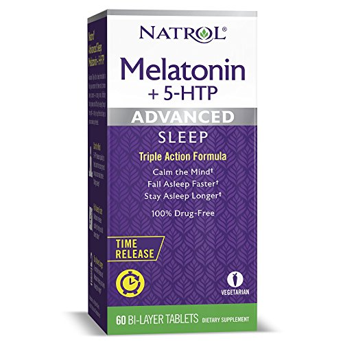 Natrol Melatonin + 5 HTP Advanced Sleep Time Release Bi-Layer Tablets, Calm the Mind, Helps You Fall Asleep Faster, Stay Asleep Longer, 100% Drug-Free, 10mg, 60 Count