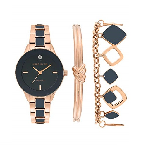 Anne Klein Women's Genuine Diamond Dial Rose Gold-Tone and Navy Blue Watch with Bracelet Set, AK/3348NRST