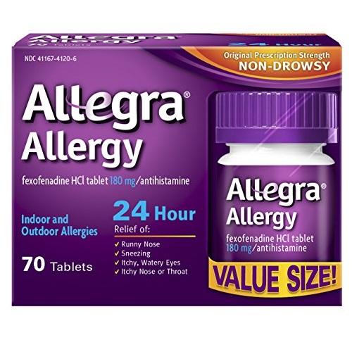 无嗜睡副作用!一片管24小时!Allegra 成人 抗过敏药片,70片