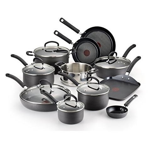 T-fal E765SH Ultimate Hard Anodized Scratch Resistant Titanium Nonstick Thermo-Spot Heat Indicator Cookware Set, 17-Piece, Gray