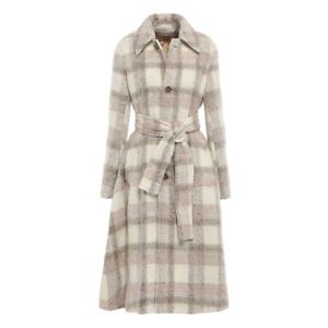 ACNE STUDIOS Belted checked brushed-woven coat