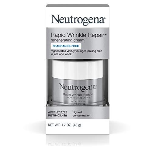 Neutrogena Rapid Wrinkle Repair Hyaluronic Acid Retinol Cream, Anti Wrinkle Cream, Face Moisturizer, Neck Cream & Dark Spot Remover for Face - Day & Night, 1.7 oz