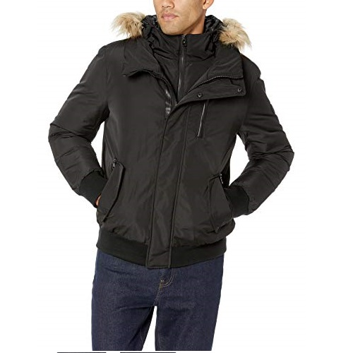 Calvin Klein Men's Parka Bomber Jacket with Inner Bib