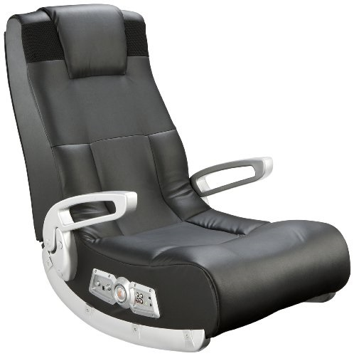 Ace Bayou X Rocker II SE 2.1 Black Leather Floor Video Gaming Chair for Adult, Teen, and Kid Gamers with Armrest and Headrest - High Tech Audio and Wireless Capacity、