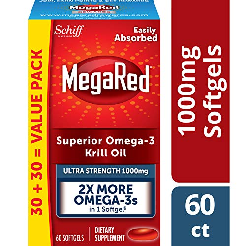 1000mg Omega-3 Krill Oil Supplement, MegaRed Ultra Strength Softgels (60 Count in a Box), Has No Fishy Aftertaste and Has EPA & DHA Plus Antioxidant Astaxanthin