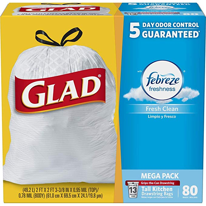 Glad Tall Kitchen Drawstring Trash Bags - OdorShield 13 Gallon Grey Trash Bag, Febreze Fresh Clean - 80 Count