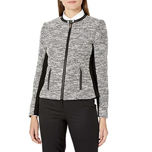 Calvin Klein Women's Tweed Jacket, Black/White, 2