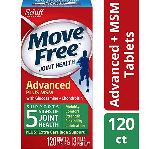 Move Free Joint Health Supplement Tablets, (120 count in a bottle), Supports Mobility, Flexibility, Strength, Lubrication and Comfort
