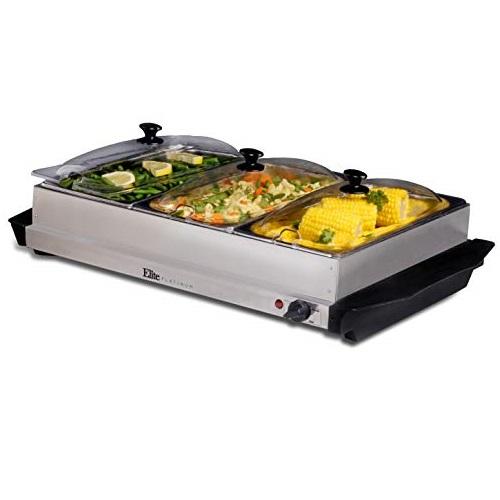 Elite Platinum EWM-6171 Triple Server Food Warmer, Adjustable Temp, Buffet Trays and Slotted Lids, 3 x 2.5 Quart, Stainless Steel