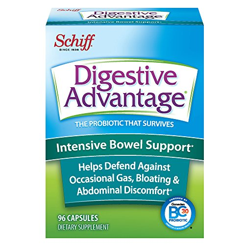 Intensive Bowel Support Probiotic Supplement - Digestive Advantage 96 Capsules, defends against gas, bloating, abdominal discomfort,