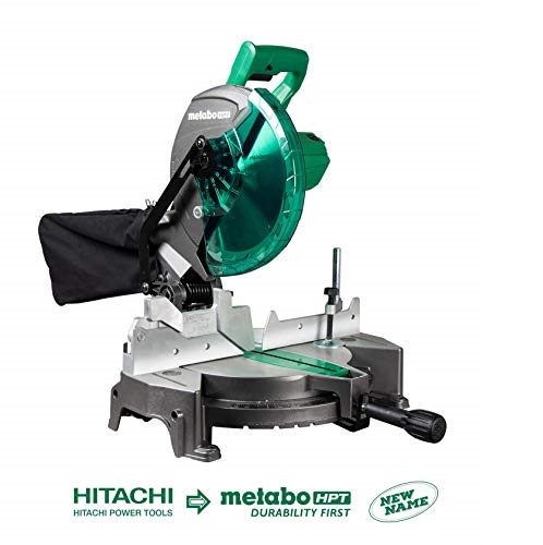 "Metabo HPT C10FCGS 10"" Compound Miter Saw, 15-Amp Motor, Single Bevel, 0-52° Miter Angle Range, 0-45° Bevel Range, Large Table, 10"" 24T TCT Saw Blade"