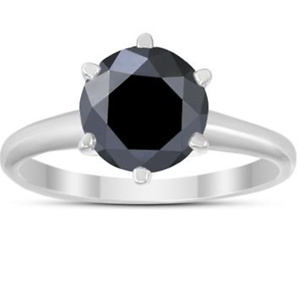 2 CARAT ROUND BLACK DIAMOND SOLITAIRE RING IN 14K WHITE GOLD