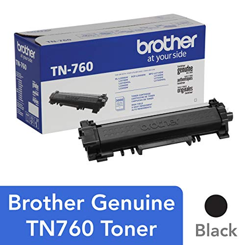 Brother TN-760 DCP-L2510 2530 L2550 HL-L2310 L2350 L2370 L2375 L2390 L2395 MFC-L2710 L2713 L2715 L2730 L2750 Toner Cartridge (Black) in Retail Packaging