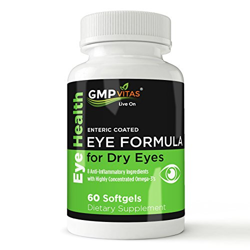 GMPVitas Enteric Coated Eye Formula- 1480mg Omega-3 Supplement-590mg EPA-440mg DHA-1000 IU Vitamin A-2000 IU Vitamin D3