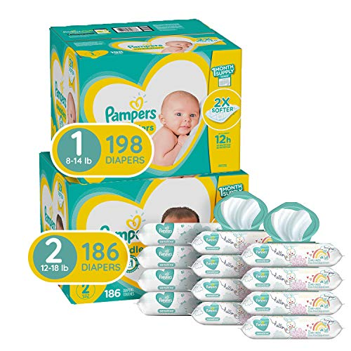 Pampers Baby Diapers and Wipes Starter Kit (2 Month Supply) - Swaddlers Disposable Baby Diapers Sizes 1 (198 Count) & 2, (186 Count) with Pampers Sensitive Water-Based Baby Wipes, 864 Count $84.49