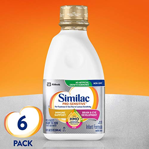 Similac Pro-Sensitive Infant Formula with 2'-FL Human Milk Oligosaccharide (HMO) for Immune Support, Ready to Feed, 32 fl oz (Pack of 6) $32.28
