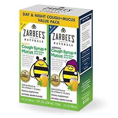 Zarbee's Naturals Children's Cough Syrup + Mucus with Dark Honey & Ivy Leaf Daytime & Nighttime, Natural Grape Flavor, 4 oz Bottles (Value Twin Pack)