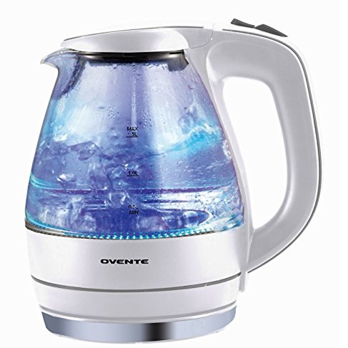 Ovente KG83W Glass Electric Kettle, 1.5 L, White