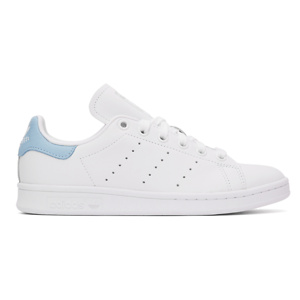 adidas Originals  White & Blue Stan Smith Sneakers