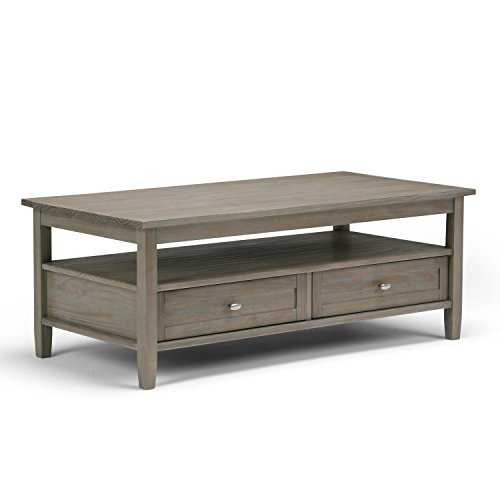 Simpli Home AXWSH001-GR Warm Shaker Solid Wood 48 inch wide Rustic Coffee Table in Distressed Grey