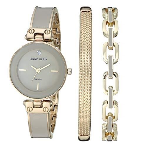 Anne Klein Women's Genuine Diamond Dial Gold-Tone and Tan Bangle Watch with Bracelet Set, AK/3346TNST