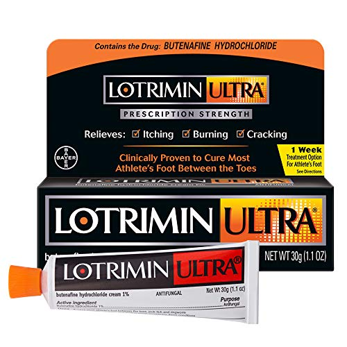 Lotrimin Ultra 1 Week Athlete's Foot Treatment, Prescription Strength Butenafine Hydrochloride 1%, Cures Most Athlete's Foot Between Toes, Cream, 1.1 Ounce