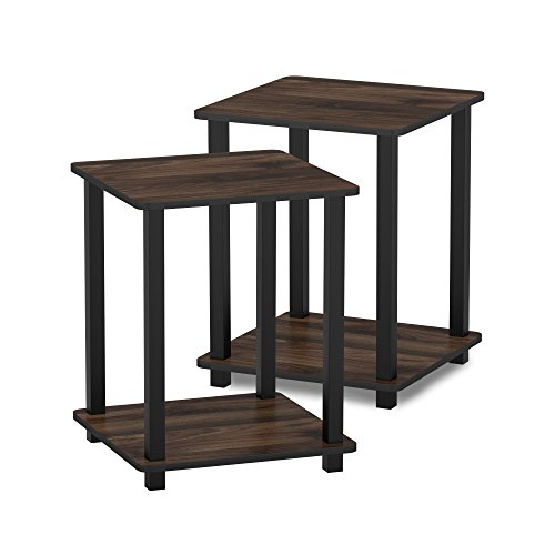 Furinno 12127CWN/BK Simplistic End Table, Columbia Walnut/Black