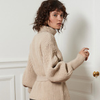 CABLE KNITTED BELTED SWEATER