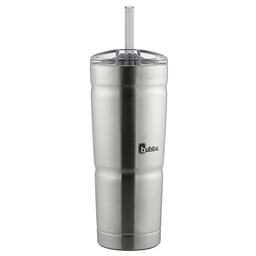 bubba Envy S Vacuum-Insulated Stainless Steel Tumbler with Straw, 24 oz., Clear Lid