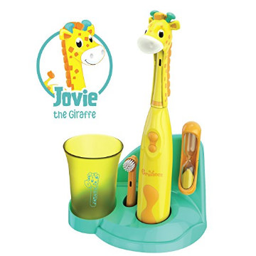 Brusheez Kid's Electric Toothbrush Set (Safari Edition) - Jovie the Giraffe - Includes Battery-Powered Toothbrush, 2 Brush Heads, Cute Animal Cover, Sand Timer, Rinse Cup & Storage Base $18.99