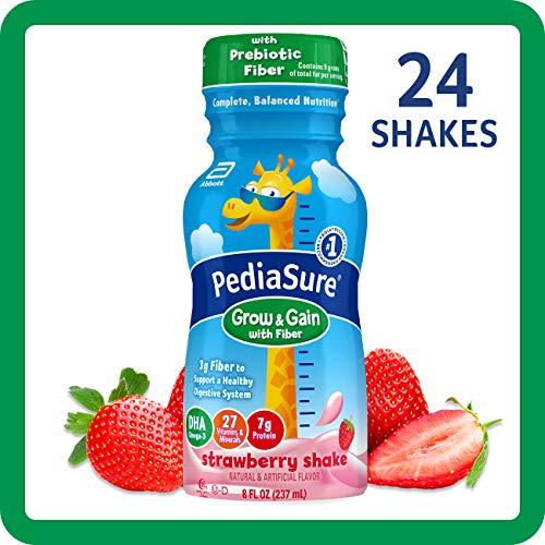 PediaSure Grow & Gain With Fiber, Kids' Nutritional Shake, With Protein, DHA, And Vitamins & Minerals, Strawberry, 8 fl oz, 24-Count