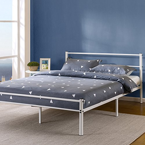 Zinus Geraldine 12 Inch White Metal Platform Bed Frame with Headboard and Footboard, Queen