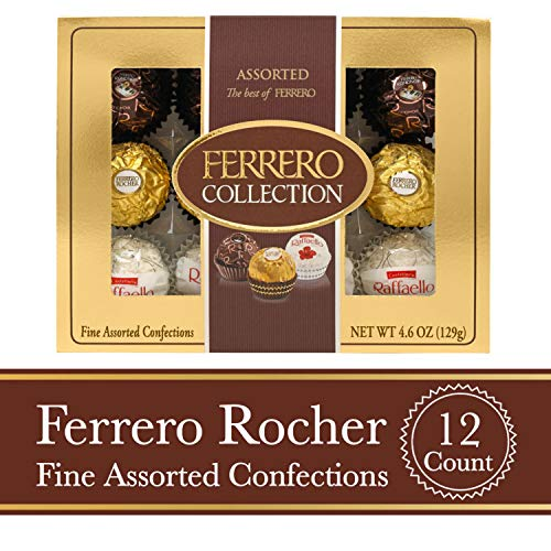 Ferrero Rocher Fine Hazelnut Milk Chocolates, 12 Count, Assorted Coconut Candy and Chocolate Collection, Valentine's Day Gift Box, 4.6 oz