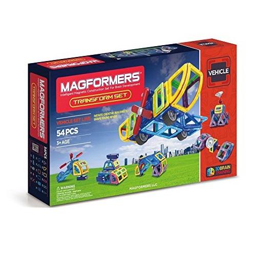Magformers Vehicle Transform Set (54-pieces) Magnetic Building Blocks, Educational Magnetic Tiles Kit, Magnetic Construction STEM Set includes wheels