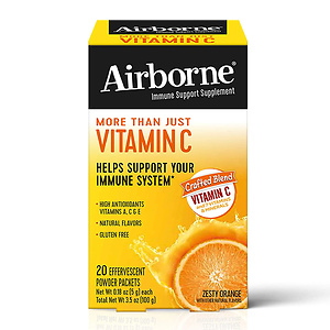 Vitamin C Blend, Airborne Zesty Orange Effervescent Powder Packs (20 Count in Box), On The Go Gluten Free Immune Support Supplement, with Other Natural Flavors and Antioxidants (Vitamins A, C & E)