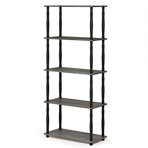 FURINNO Turn-N-Tube 5-Tier Multipurpose Shelf Display Rack, Classic, French Oak Grey/Black