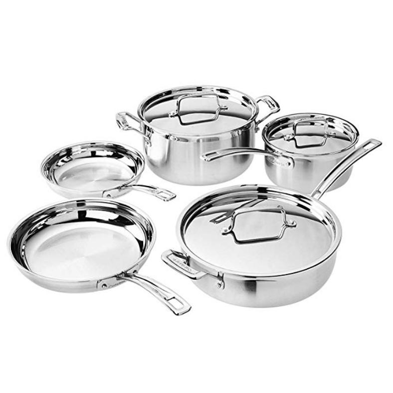 与金盒特价相同!Cuisinart WMCS-8S2 不锈钢锅具8件套
