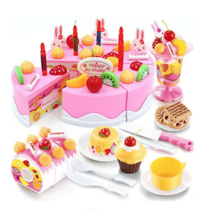 Birthday Cake Play Food Set Pink 75 Pieces Plastic Kitchen Cutting Toy Pretend Play
