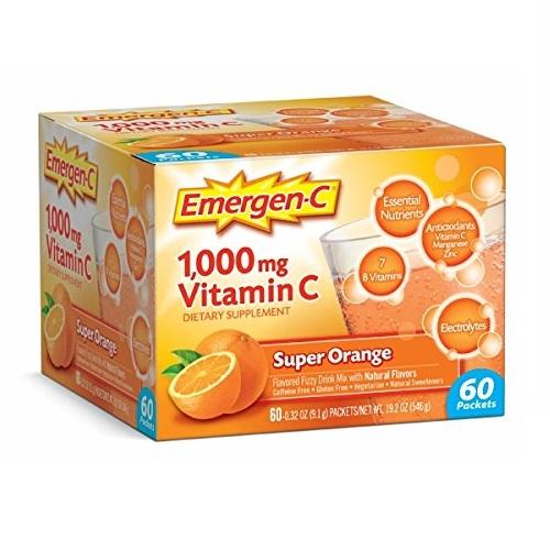 Emergen-C Vitamin C 1000mg Powder (60 Count, Super Orange Flavor