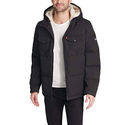 Levi's Men's Heavyweight Mid-Length Hooded Military Puffer Jacket