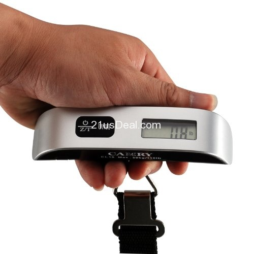 Camry Digital Hanging Luggage Scale, Portable Handheld Baggage Scale for Travel, Suitcase Scale with hook,110 Pounds, Battery Included