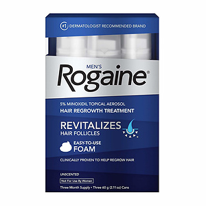 Men's Rogaine 5% Minoxidil Foam for Hair Loss and Hair Regrowth, 3-Month Supply, 2.11 oz (Pack of 3)