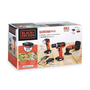 Black+Decker 3-Tool GoPak Project Kit - Includes Drill/Driver, Sander, LED Light, and GoPak Battery