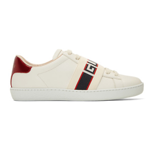 Gucci  White Elastic Band New Ace Sneakers