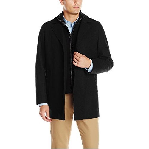 Cole Haan Men's Classic Melton Top Coat with Faux Leather Details