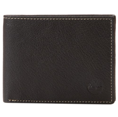 Timberland Men's Leather Fine Break Passcase Wallet with Attached Flip Pocket