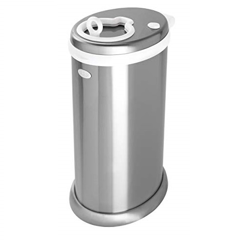 UBBI Stainless Steel Odor Locking, No Special Bag Required Money Saving, Awards-Winning,Modern Design Registry Must-Have Diaper Pail, Chrome